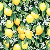 Splash of Lemon - Fruiting Lemons Black Yardage
