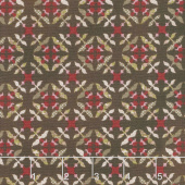 Tickled Pink - Tile Flowers Brown Yardage