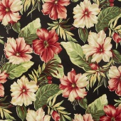 Collection for a Cause - Sunshine - Hibiscus Flower Black Yardage