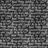Let It Snow - Happy Holiday Script Black Yardage