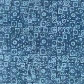 Mystery Batiks - Square Circle Harbor Blue Yardage