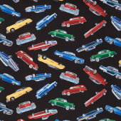Novelty - Tossed Classic Cars Black Yardage