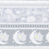 Moon and Stars - To The Moon And Back Stripe Grey Yardage