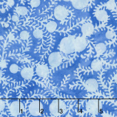 French Blue Batiks - Leaf Vine Bluebird Yardage