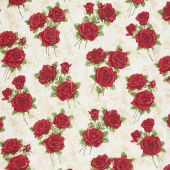 A Festival of Roses - Festive Lace Roses Cream Pearlized Yardage