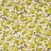 Bounty of the Season - Apples Green Metallic Yardage