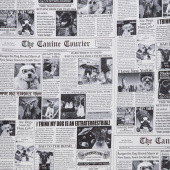 Dogs - Bad to the Bone Newsprint Yardage