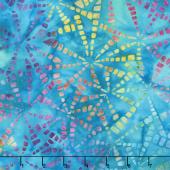 Artisan Batiks - Natural Formations 3 Ocean Pinwheels Turquoise Yardage