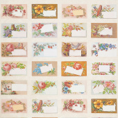 Flea Market Mix - Floral Trade Cards Parchment Yardage