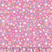 I Believe in Pink - Flowers & Ribbons Pink Yardage