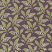 Sweet Violet - Violet & Leaves Violet Yardage