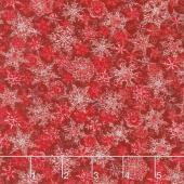Winter's Grandeur 6 - Winter Small Flakes Scarlet Metallic Yardage
