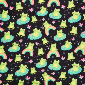 Novelty - Frogs Lounging Black Yardage