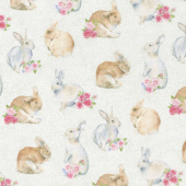 Bunny Love - Realistic Bunnies Cream Multi Yardage