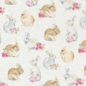 Bunny Love - Realistic Bunnies Cream Multi Yardage