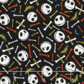 Jack is Back - Tim Burton's The Nightmare Before Christmas Skull and Bones Glow in the Dark Yardage