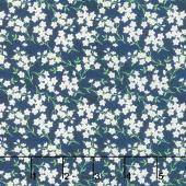 Madison - Tiny White Floral Blue Yardage