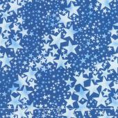 Pearl Frost - Stars Dark Blue Pearlescent Yardage