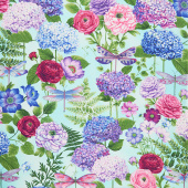 Dragonfly Garden - Hydrangea Bouquets Sky Blue Yardage