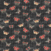 Harlequin Poppies - Butterflies Black Yardage