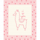 Soft & Sweet - Pink Llama Love Pink Flannel Panel