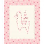 Soft & Sweet - Pink Llama Love Pink Flannel Panel