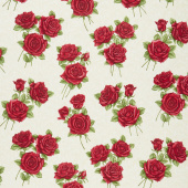 A Festival of Roses - Festive Damask Roses Cream Yardage