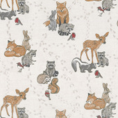 Woodland Pitter Patter - Animals Allover Light Taupe Multi Yardage