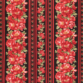 Garden Rose - Red Rose Stripe Black Yardage