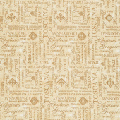 Tuscan Delight - Words Allover Cream Yardage