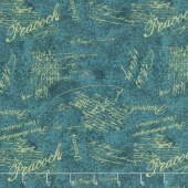 Plumage - Words Allover Teal Yardage