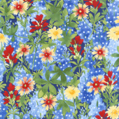 Bluebonnet Patch - Wildflower Patch Navy Yardage