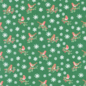 Festive Collection - Jolly Robin Green Yardage