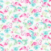 Animals - Watercolor Flamingos White Yardage