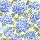 Hydrangea Blue - All Over Hydrangea Yellow Yardage