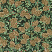 Holiday Lodge - Holiday Greenery Charcoal Yardage