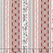 Holiday Flourish 10 - Scarlet Stripes Silver Metallic Yardage
