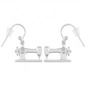 Sewing Machine Drop Earrings - Silver