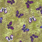 Pansy Noir - Pansy Butterfly Scroll Olive Yardage