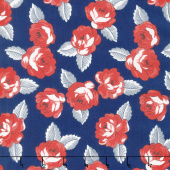 Feed Sacks: True Blue - Roses Navy Yardage