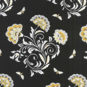 Bee Joyful - Bee's & Blooms Ebony Yardage