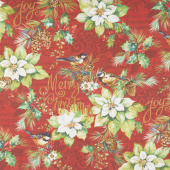 Deck the Halls - Feature Poinsettia with Birds Red Yardage