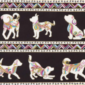 Dog On It - Dog Walk Black Multi Metallic Yardage
