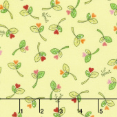 Lil' Sprout Too! - Sprouts n' Hearts Tossed Green Flannel Yardage