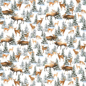 Snowy Woods - Animals White Yardage