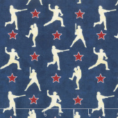 7th Inning Stretch - Player Silhouettes Blue Yardage