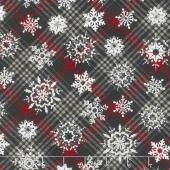 Christmas Cabin - Snowflakes On Plaid Yardage