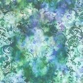 Floragraphix V - Leaf Swirl Green Blue Yardage