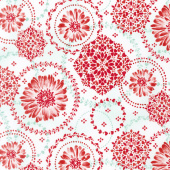 Sugar Berry - Daisy Delight Radiant Crystal with Red Glitter Yardage