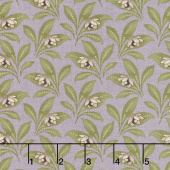 Sweet Violet - Violet & Leaves Lilac Yardage